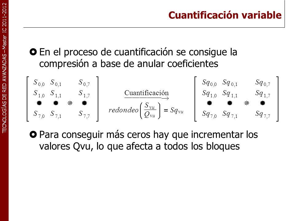 TECNOLOGÍAS DE RED AVANZADAS – Master IC 2011-2012 Cuantificación variable En el proceso de cuantificación se consigue la compresión a base de anular