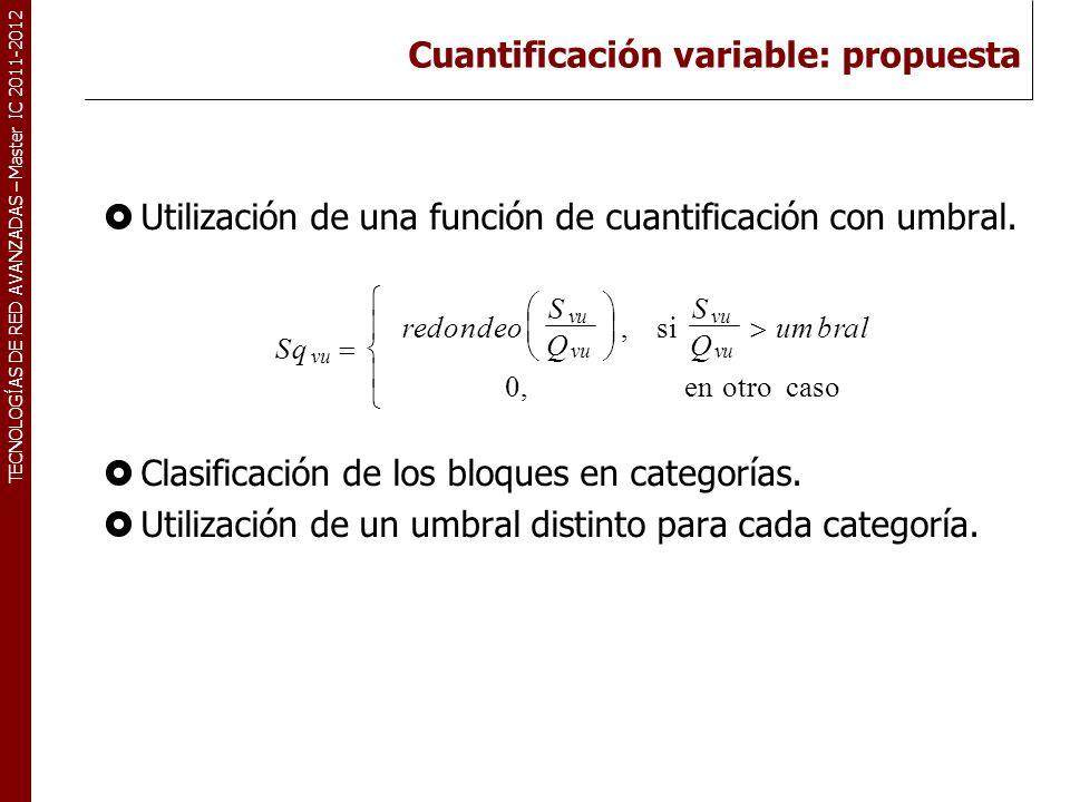 TECNOLOGÍAS DE RED AVANZADAS – Master IC 2011-2012 Cuantificación variable: propuesta Utilización de una función de cuantificación con umbral. Clasifi