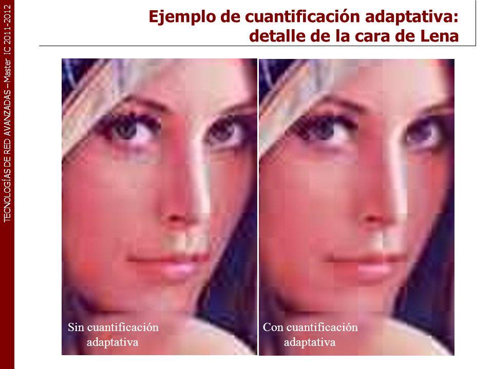 TECNOLOGÍAS DE RED AVANZADAS – Master IC 2011-2012 Ejemplo de cuantificación adaptativa: detalle de la cara de Lena Sin cuantificación adaptativa Con