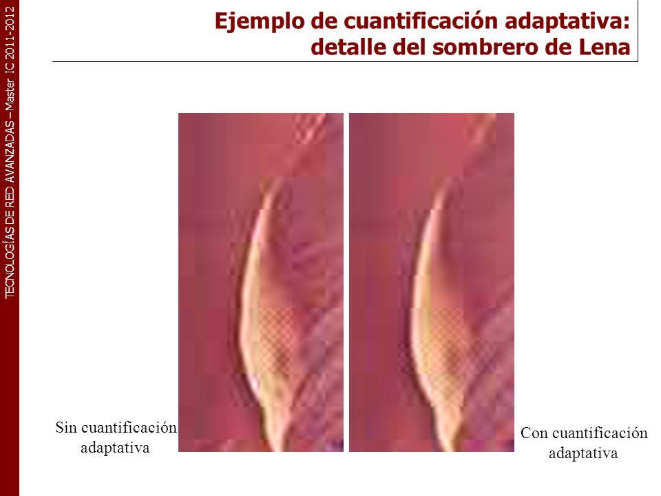 TECNOLOGÍAS DE RED AVANZADAS – Master IC 2011-2012 Ejemplo de cuantificación adaptativa: detalle del sombrero de Lena Sin cuantificación adaptativa Co