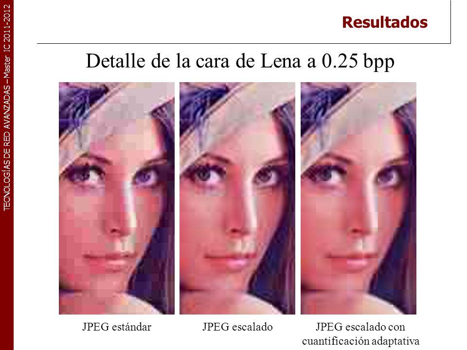 TECNOLOGÍAS DE RED AVANZADAS – Master IC 2011-2012 Resultados Detalle de la cara de Lena a 0.25 bpp JPEG escalado con cuantificación adaptativa JPEG e