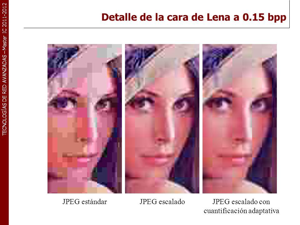 TECNOLOGÍAS DE RED AVANZADAS – Master IC 2011-2012 Detalle de la cara de Lena a 0.15 bpp JPEG escalado con cuantificación adaptativa JPEG escaladoJPEG