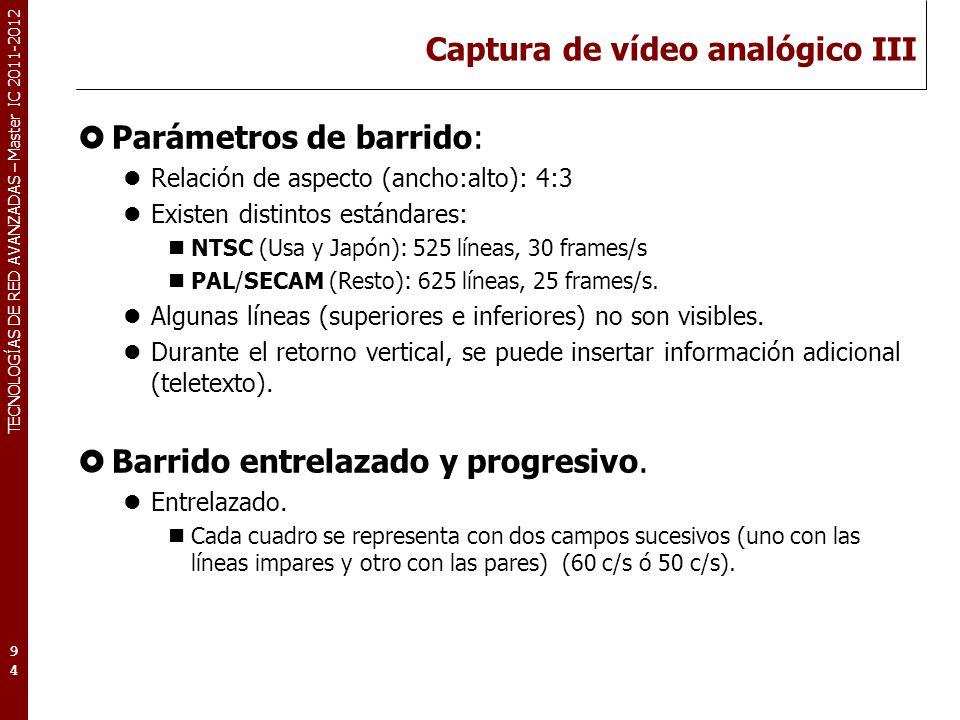 TECNOLOGÍAS DE RED AVANZADAS – Master IC 2011-2012 Captura de vídeo analógico III Parámetros de barrido: Relación de aspecto (ancho:alto): 4:3 Existen