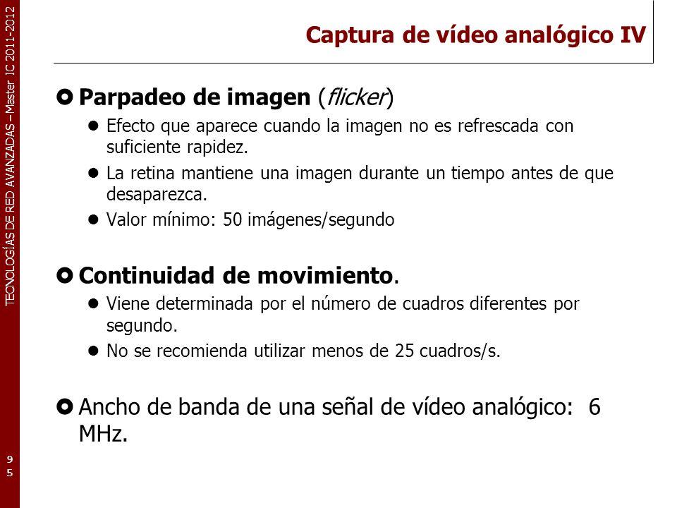 TECNOLOGÍAS DE RED AVANZADAS – Master IC 2011-2012 Captura de vídeo analógico IV Parpadeo de imagen (flicker) Efecto que aparece cuando la imagen no e