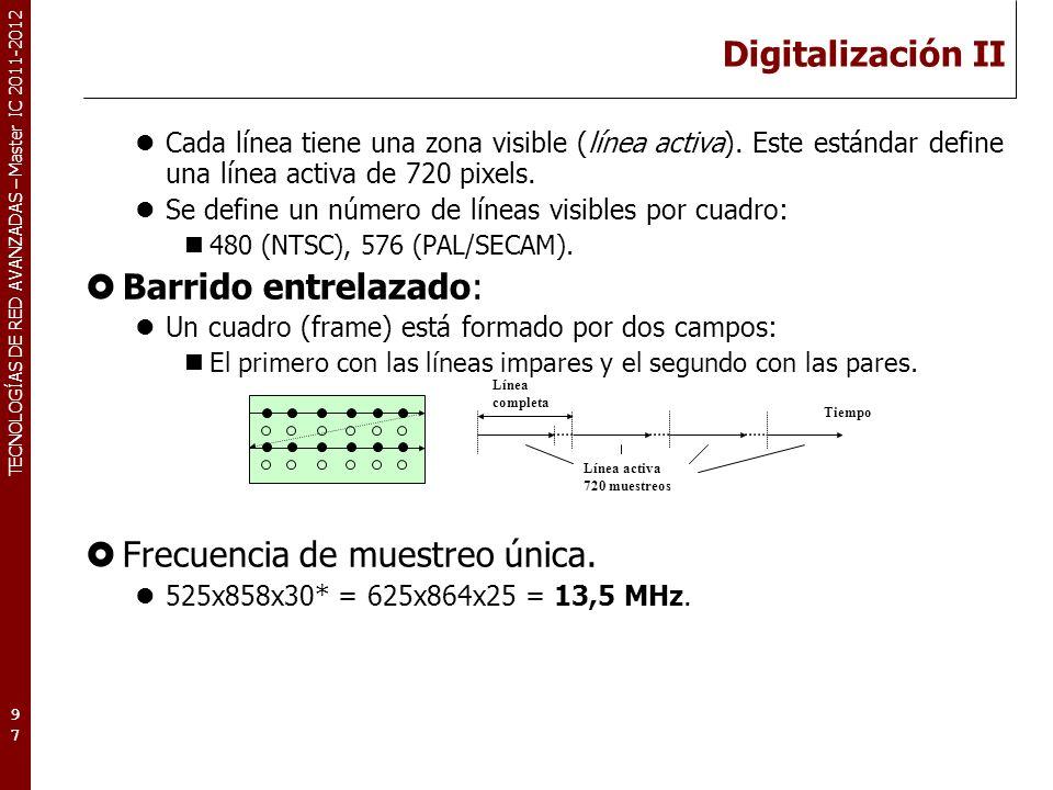 TECNOLOGÍAS DE RED AVANZADAS – Master IC 2011-2012 Digitalización II Cada línea tiene una zona visible (línea activa). Este estándar define una línea