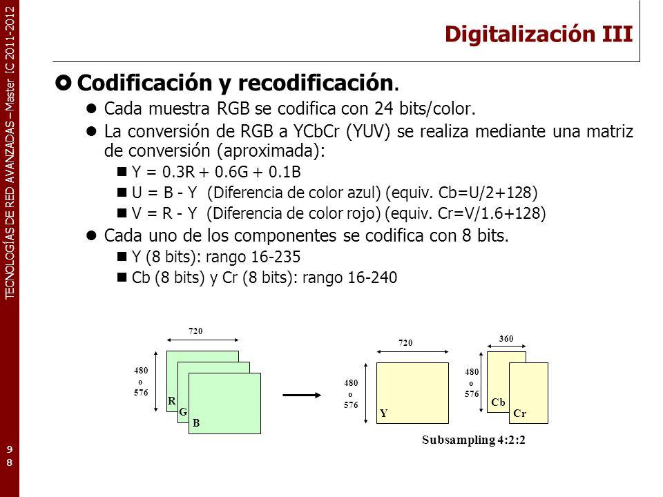 TECNOLOGÍAS DE RED AVANZADAS – Master IC 2011-2012 Digitalización III Codificación y recodificación. Cada muestra RGB se codifica con 24 bits/color. L