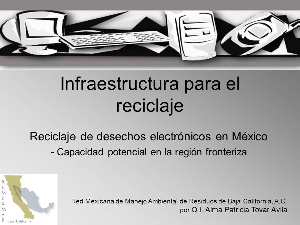Infraestructura para el reciclaje Reciclaje de desechos electrónicos en México - Capacidad potencial en la región fronteriza Red Mexicana de Manejo Ambiental de Residuos de Baja California, A.C.