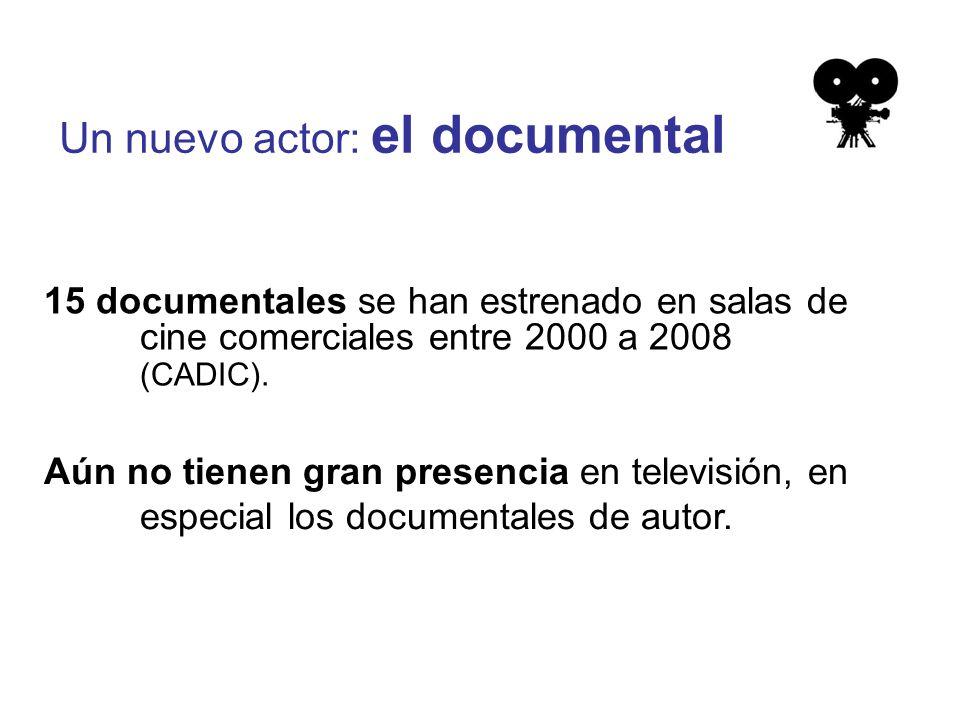 Un nuevo actor: el documental 15 documentales se han estrenado en salas de cine comerciales entre 2000 a 2008 (CADIC).