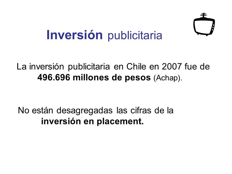 La inversión publicitaria en Chile en 2007 fue de 496.696 millones de pesos (Achap).