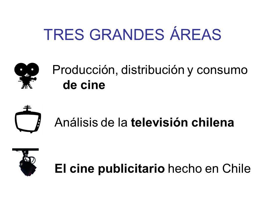 TRES GRANDES ÁREAS Producción, distribución y consumo de cine Análisis de la televisión chilena El cine publicitario hecho en Chile