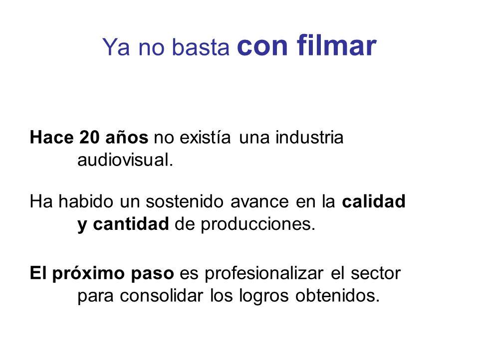 Ya no basta con filmar Hace 20 años no existía una industria audiovisual.