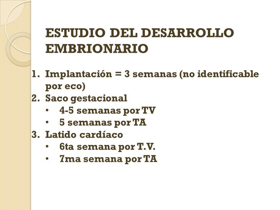 ESTUDIO DEL DESARROLLO EMBRIONARIO 1.Implantación = 3 semanas (no identificable por eco) 2.Saco gestacional 4-5 semanas por TV 5 semanas por TA 3.Lati