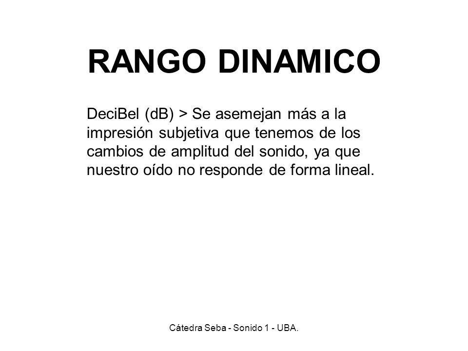 RANGO DINAMICO Cátedra Seba - Sonido 1 - UBA. DeciBel (dB) > Se asemejan más a la impresión subjetiva que tenemos de los cambios de amplitud del sonid