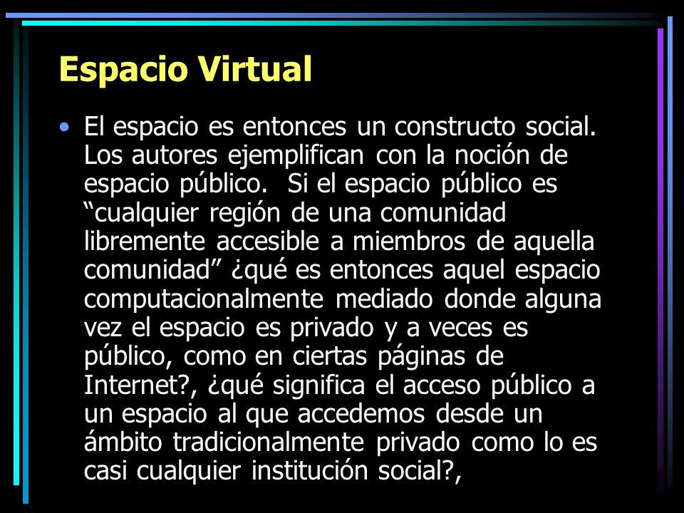 Espacio Virtual El espacio es entonces un constructo social. Los autores ejemplifican con la noción de espacio público. Si el espacio público es cualq
