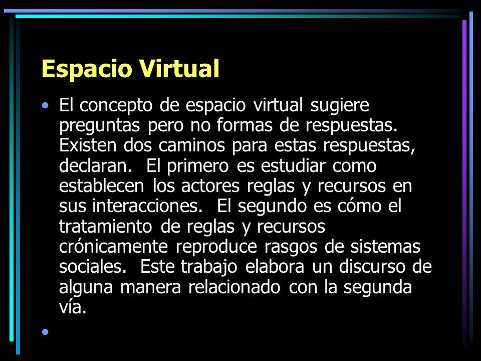 Espacio Virtual El concepto de espacio virtual sugiere preguntas pero no formas de respuestas. Existen dos caminos para estas respuestas, declaran. El