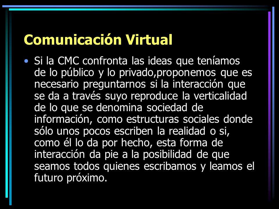 Comunicación Virtual Si la CMC confronta las ideas que teníamos de lo público y lo privado,proponemos que es necesario preguntarnos si la interacción