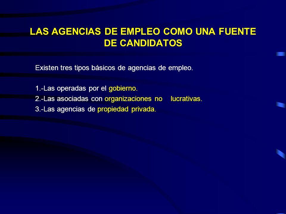LAS AGENCIAS DE EMPLEO COMO UNA FUENTE DE CANDIDATOS Existen tres tipos básicos de agencias de empleo. 1.-Las operadas por el gobierno. 2.-Las asociad