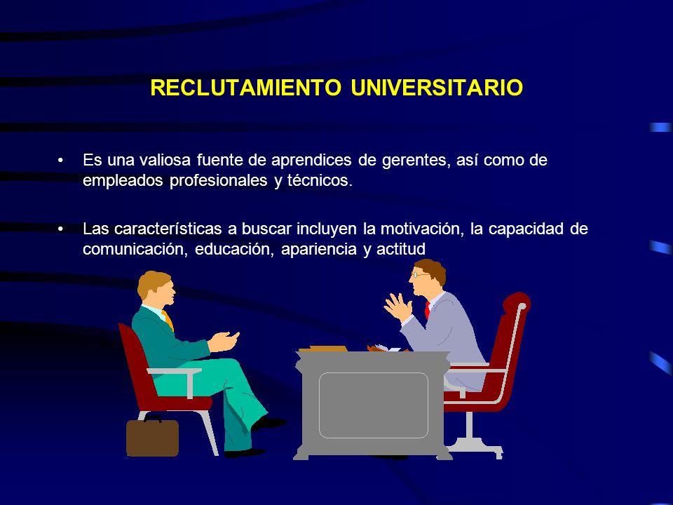 RECLUTAMIENTO UNIVERSITARIO Es una valiosa fuente de aprendices de gerentes, así como de empleados profesionales y técnicos. Las características a bus