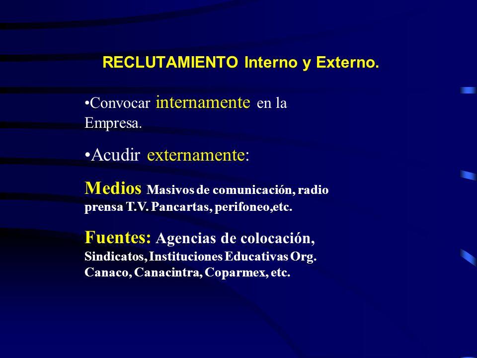 RECLUTAMIENTO Interno y Externo. Convocar internamente en la Empresa. Acudir externamente: Medios Masivos de comunicación, radio prensa T.V. Pancartas