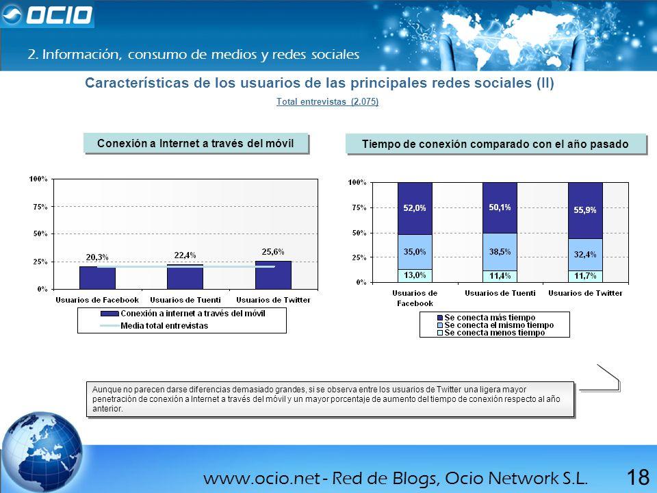 www.ocio.net - Red de Blogs, Ocio Network S.L. 18 2. Información, consumo de medios y redes sociales Características de los usuarios de las principale