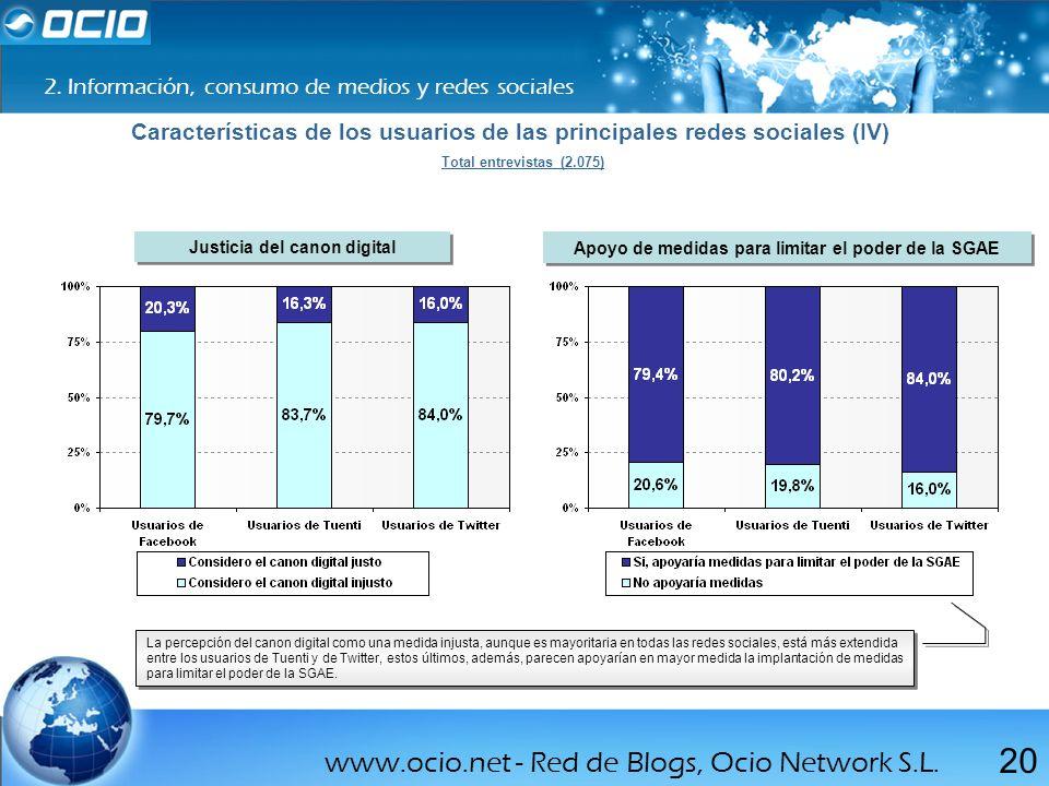 www.ocio.net - Red de Blogs, Ocio Network S.L. 20 2. Información, consumo de medios y redes sociales Características de los usuarios de las principale