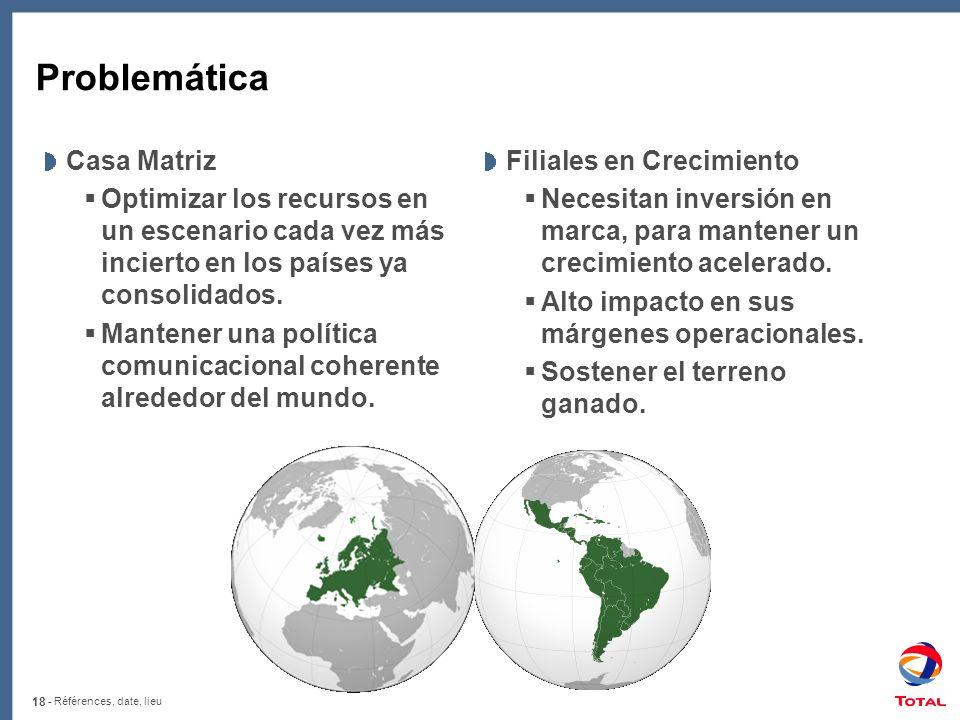 18 - Références, date, lieu Problemática Casa Matriz Optimizar los recursos en un escenario cada vez más incierto en los países ya consolidados. Mante