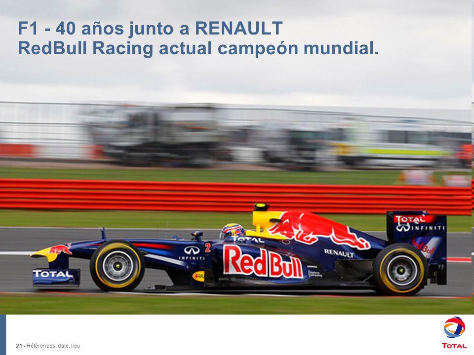 21 - Références, date, lieu F1 - 40 años junto a RENAULT RedBull Racing actual campeón mundial.