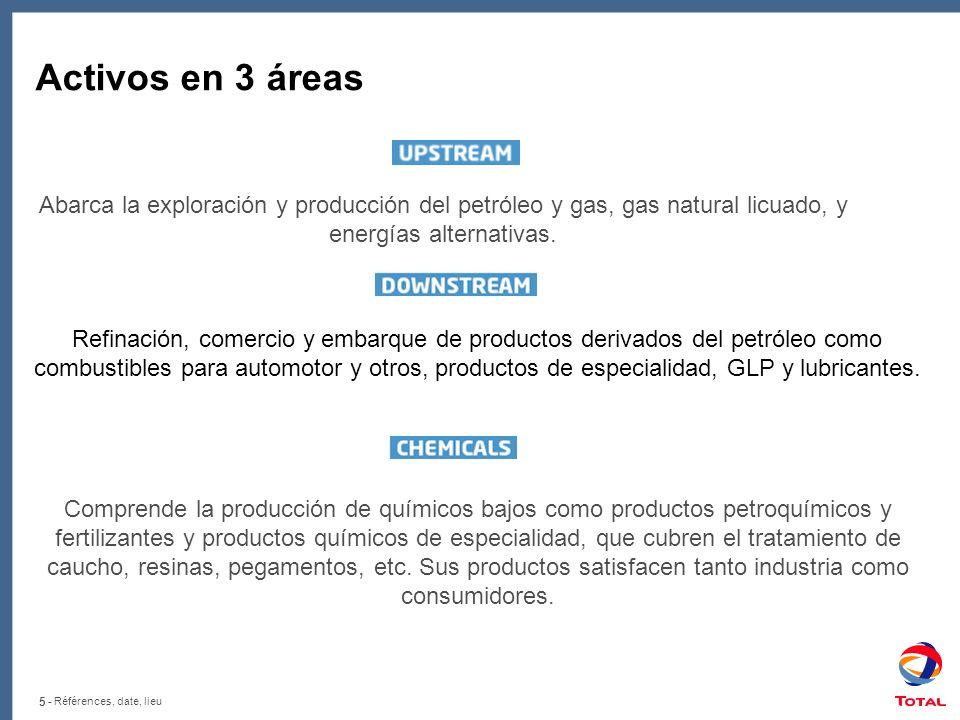 5 - Références, date, lieu Activos en 3 áreas Abarca la exploración y producción del petróleo y gas, gas natural licuado, y energías alternativas.