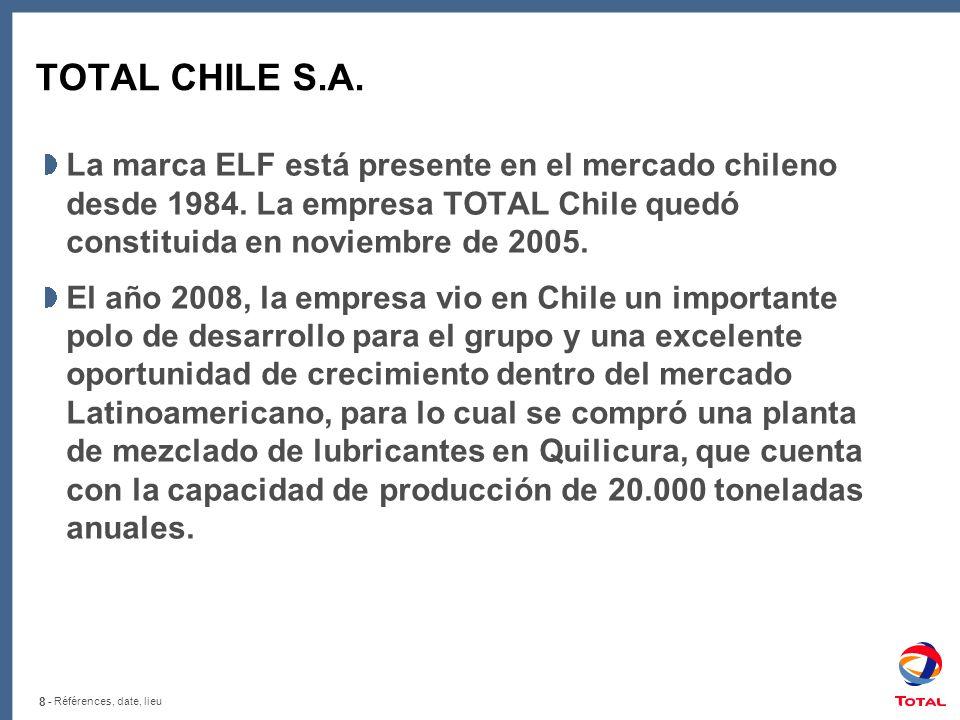 8 - Références, date, lieu TOTAL CHILE S.A. La marca ELF está presente en el mercado chileno desde 1984. La empresa TOTAL Chile quedó constituida en n
