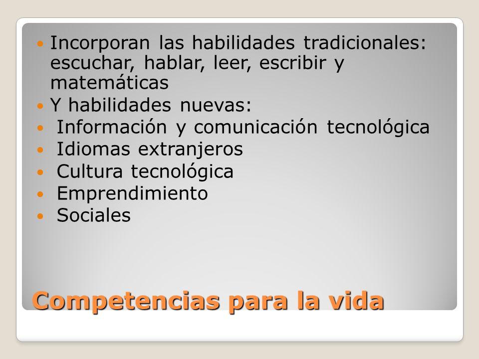 Competencias para la vida Incorporan las habilidades tradicionales: escuchar, hablar, leer, escribir y matemáticas Y habilidades nuevas: Información y