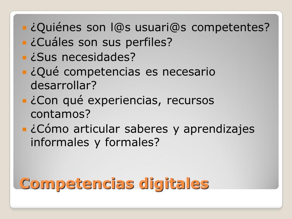 Competencias digitales ¿Quiénes son l@s usuari@s competentes? ¿Cuáles son sus perfiles? ¿Sus necesidades? ¿Qué competencias es necesario desarrollar?