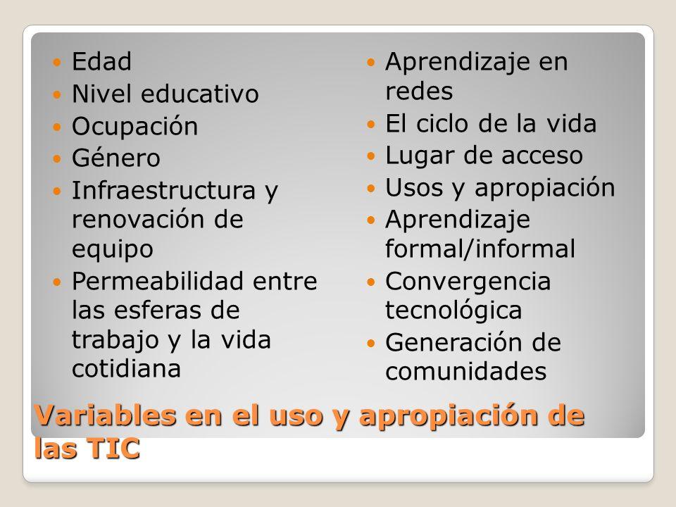 Variables en el uso y apropiación de las TIC Edad Nivel educativo Ocupación Género Infraestructura y renovación de equipo Permeabilidad entre las esfe