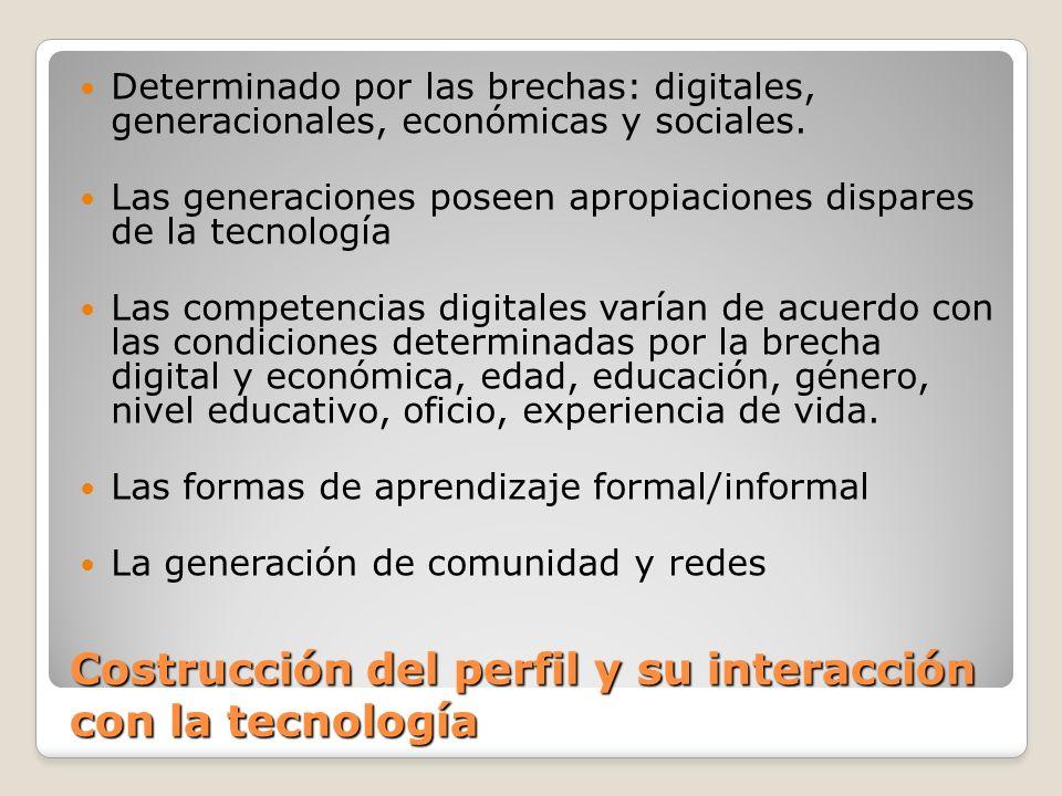 Costrucción del perfil y su interacción con la tecnología Determinado por las brechas: digitales, generacionales, económicas y sociales. Las generacio