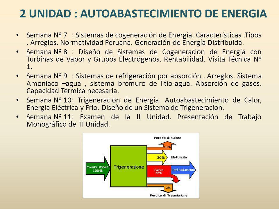 2 UNIDAD : AUTOABASTECIMIENTO DE ENERGIA Semana Nº 7: Sistemas de cogeneración de Energía. Características.Tipos. Arreglos. Normatividad Peruana. Gene