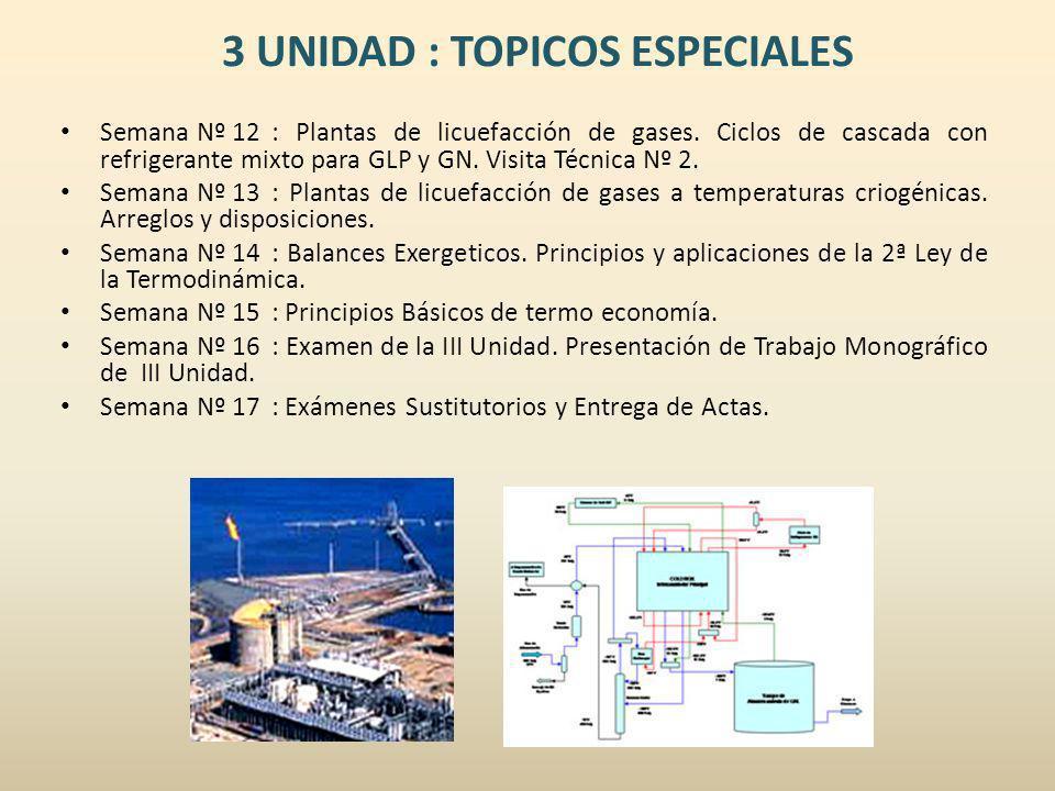 3 UNIDAD : TOPICOS ESPECIALES Semana Nº 12: Plantas de licuefacción de gases. Ciclos de cascada con refrigerante mixto para GLP y GN. Visita Técnica N