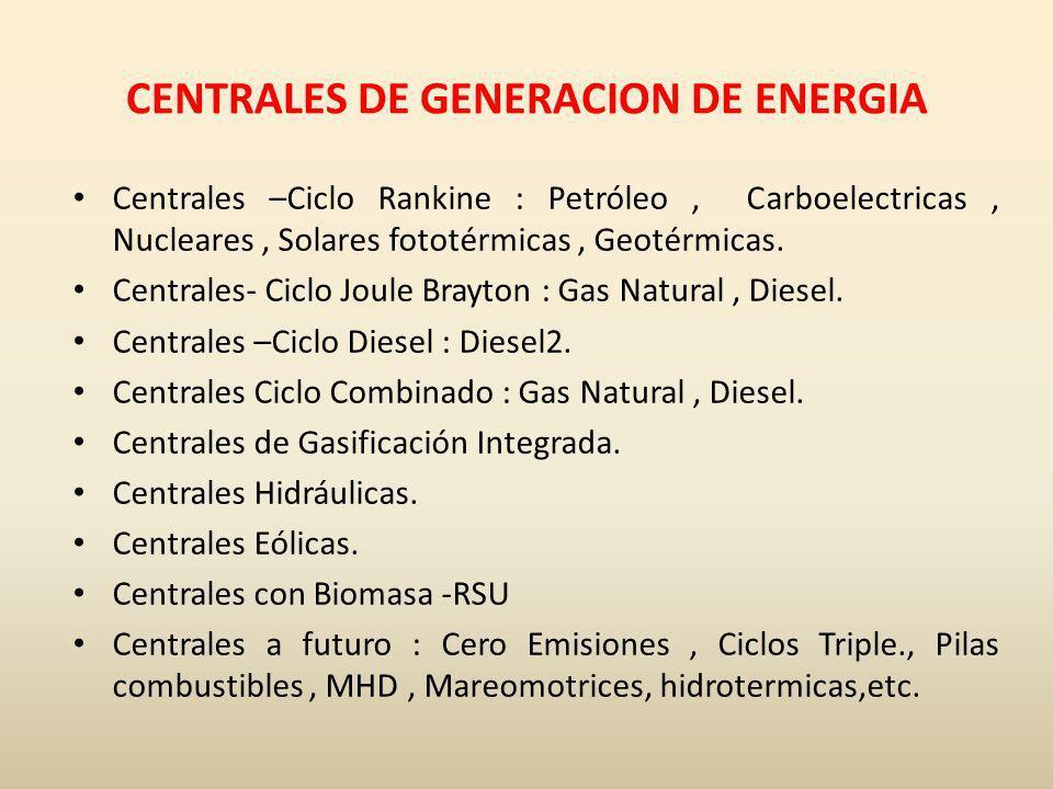 CENTRALES DE GENERACION DE ENERGIA Centrales –Ciclo Rankine : Petróleo, Carboelectricas, Nucleares, Solares fototérmicas, Geotérmicas. Centrales- Cicl