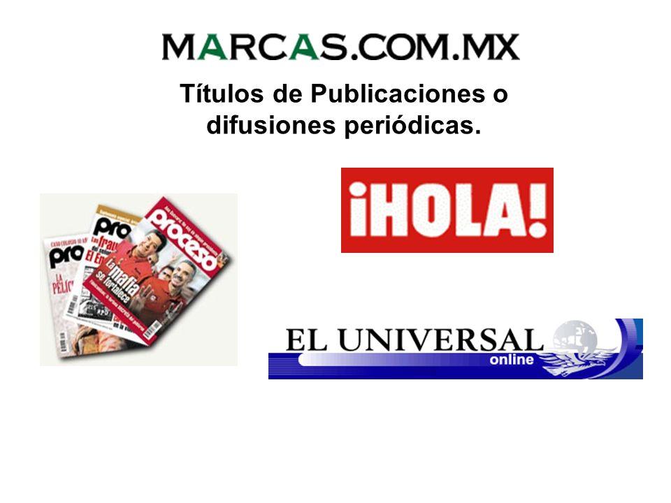 DERECHOS DE AUTOR Reservas de Derechos Títulos de Publicaciones o difusiones periódicas. Nombres y características de personajes. Nombres o denominaci