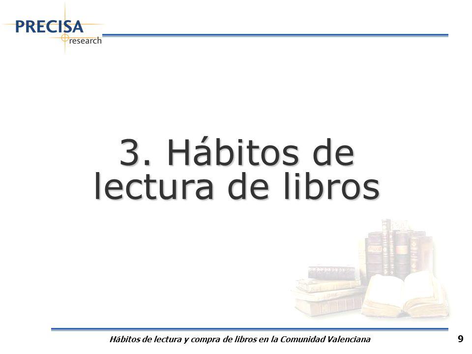 Hábitos de lectura y compra de libros en la Comunidad Valenciana 9 3. Hábitos de lectura de libros