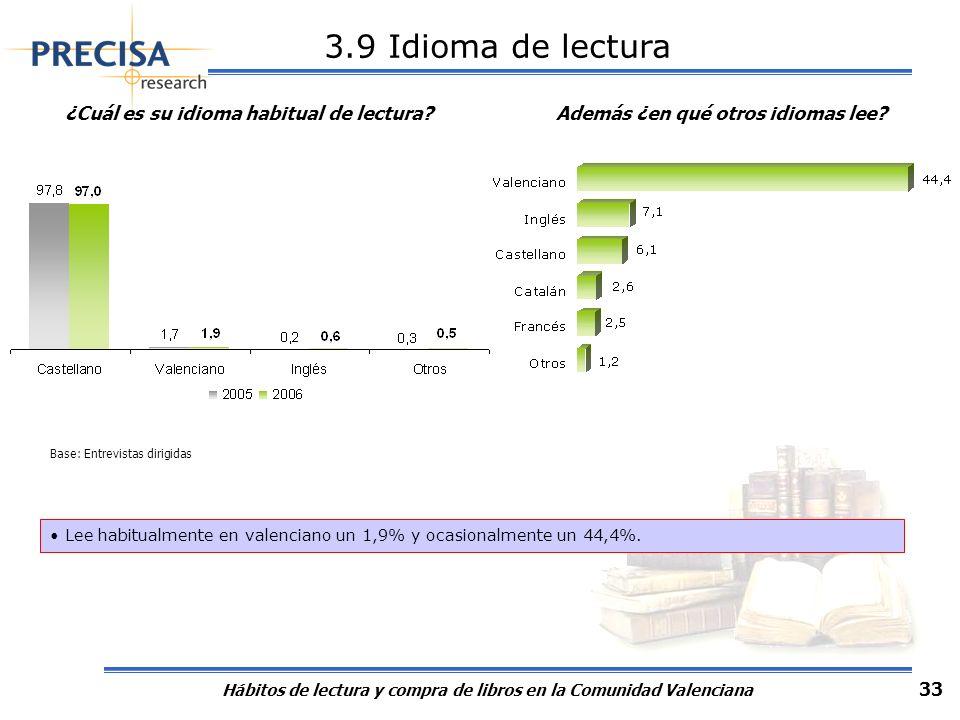 Hábitos de lectura y compra de libros en la Comunidad Valenciana 33 3.9 Idioma de lectura ¿Cuál es su idioma habitual de lectura? Base: Entrevistas di