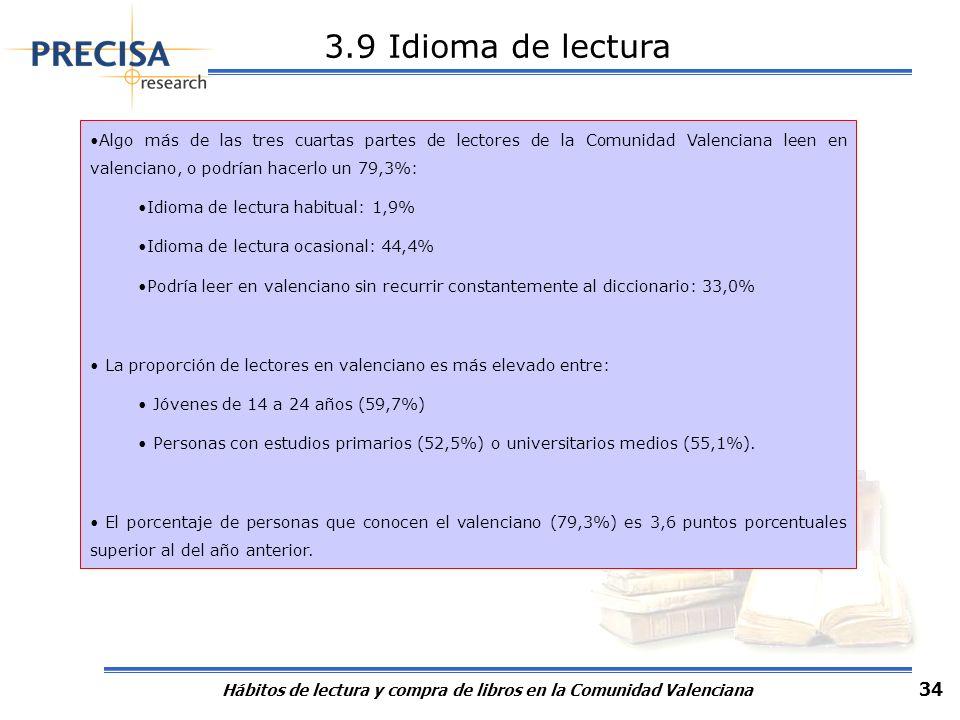 Hábitos de lectura y compra de libros en la Comunidad Valenciana 34 3.9 Idioma de lectura Algo más de las tres cuartas partes de lectores de la Comuni