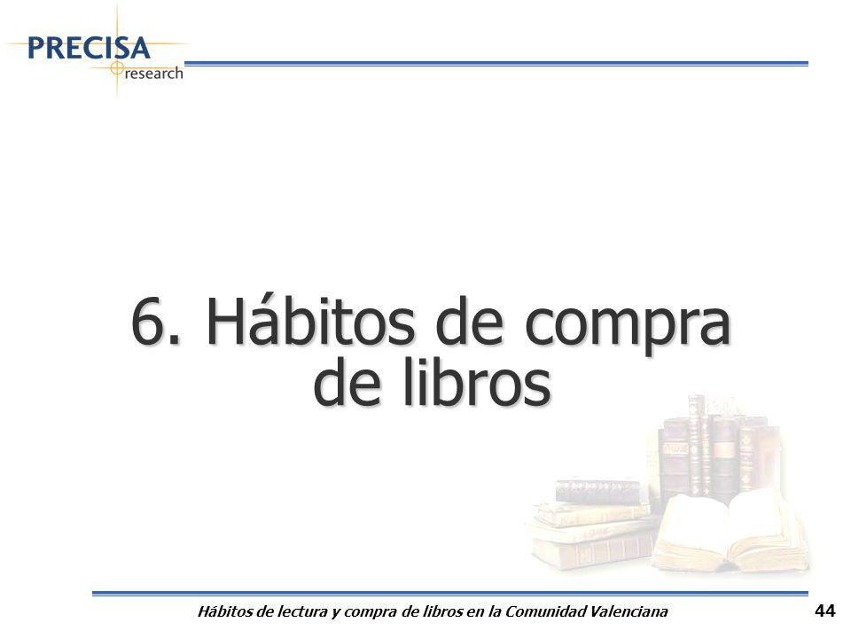 Hábitos de lectura y compra de libros en la Comunidad Valenciana 44 6. Hábitos de compra de libros