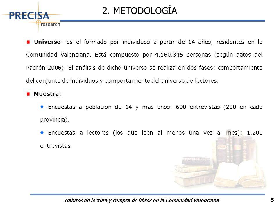 Hábitos de lectura y compra de libros en la Comunidad Valenciana 5 2. METODOLOGÍA Universo: es el formado por individuos a partir de 14 años, resident