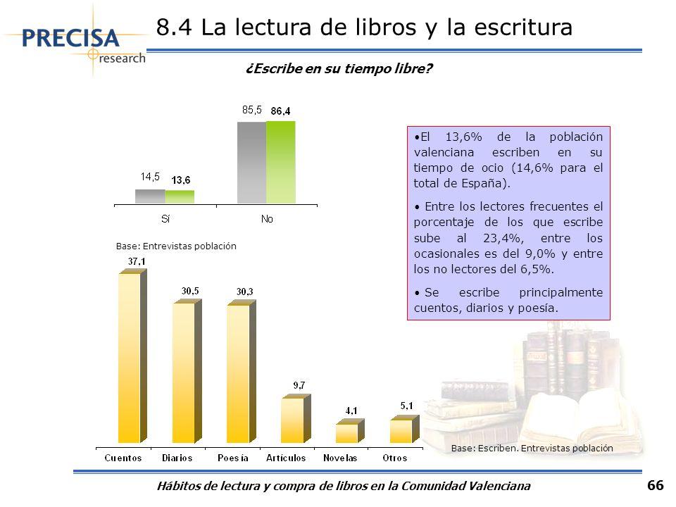 Hábitos de lectura y compra de libros en la Comunidad Valenciana 66 8.4 La lectura de libros y la escritura Base: Entrevistas población Base: Escriben
