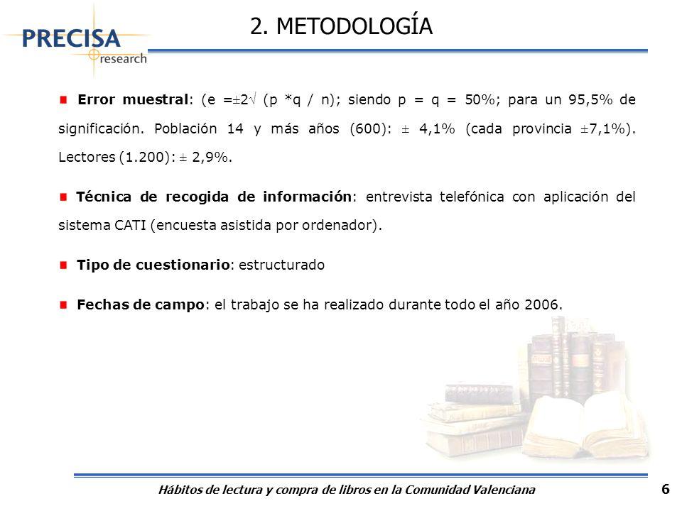 Hábitos de lectura y compra de libros en la Comunidad Valenciana 6 Error muestral: (e =±2 (p *q / n); siendo p = q = 50%; para un 95,5% de significaci