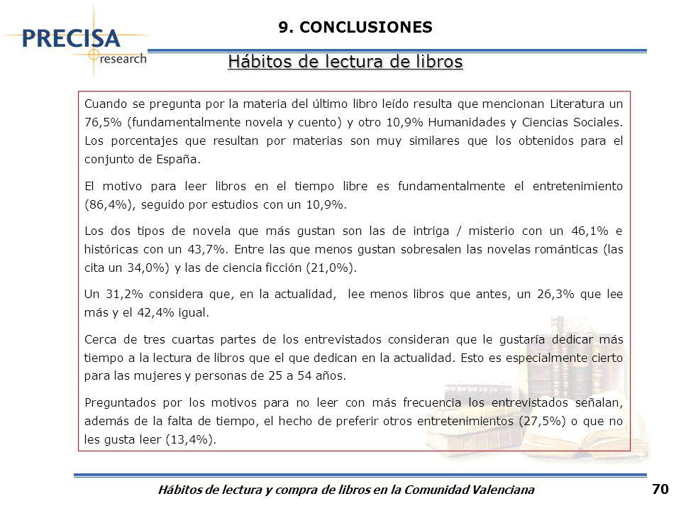 Hábitos de lectura y compra de libros en la Comunidad Valenciana 70 9. CONCLUSIONES Hábitos de lectura de libros Cuando se pregunta por la materia del
