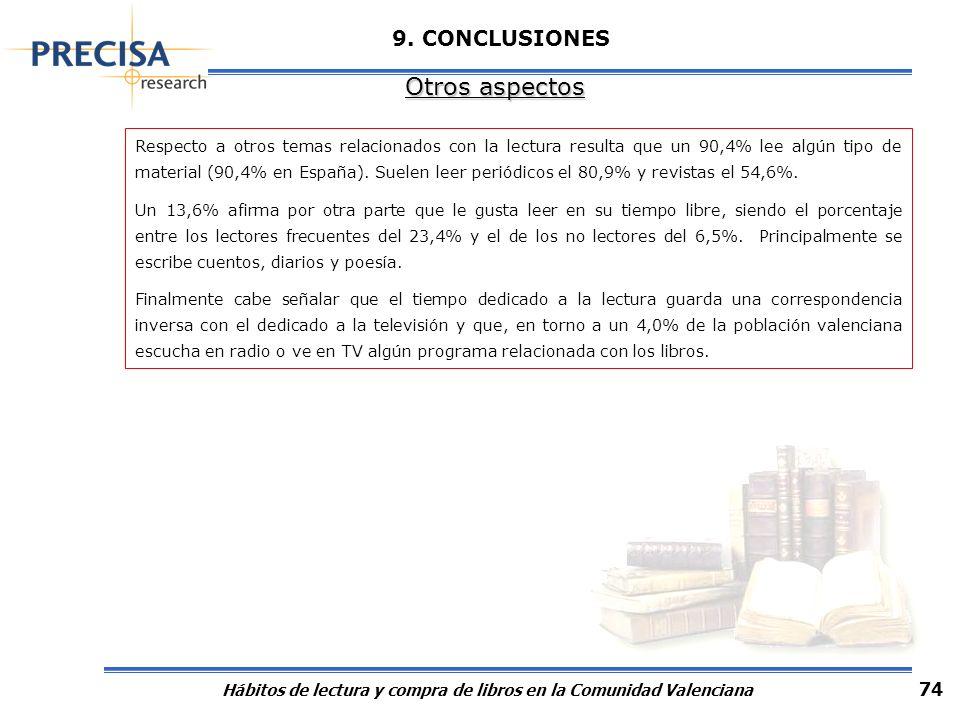 Hábitos de lectura y compra de libros en la Comunidad Valenciana 74 9. CONCLUSIONES Otros aspectos Respecto a otros temas relacionados con la lectura