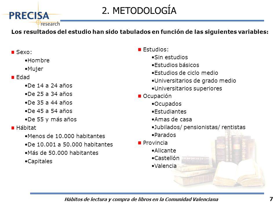 Hábitos de lectura y compra de libros en la Comunidad Valenciana 7 Los resultados del estudio han sido tabulados en función de las siguientes variable