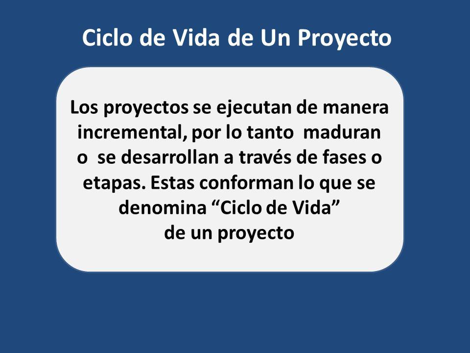 Ciclo de Vida de Un Proyecto Los proyectos se ejecutan de manera incremental, por lo tanto maduran o se desarrollan a través de fases o etapas. Estas