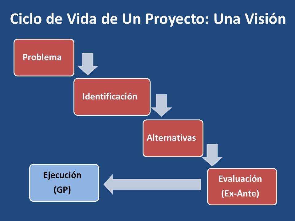Ciclo de Vida de Un Proyecto: Una Visión ProblemaIdentificaciónAlternativas Evaluación (Ex-Ante) Ejecución (GP)