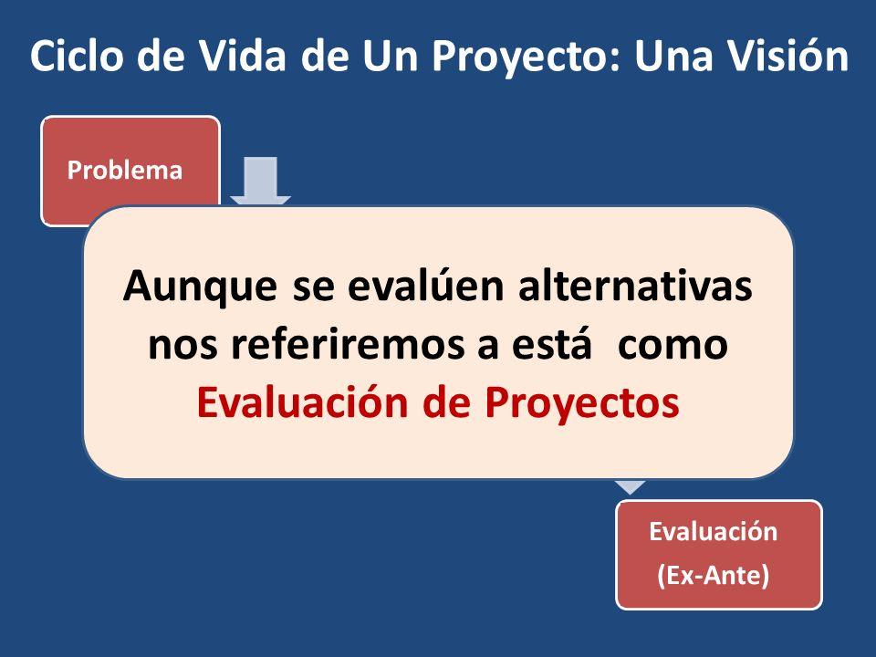 Ciclo de Vida de Un Proyecto: Una Visión ProblemaIdentificaciónAlternativas Evaluación (Ex-Ante) Aunque se evalúen alternativas nos referiremos a está